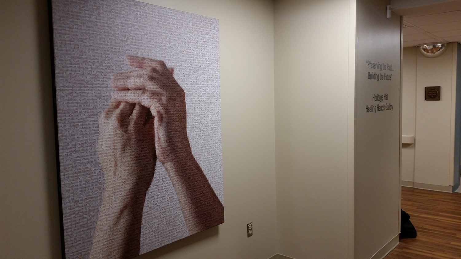 Healing Hands custom wall installation at Robert Wood Johnson University Hospital, Rahway, NJ